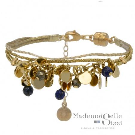 Bracelet multi-rangs Beth - Perles bleues & Lurex beige doré