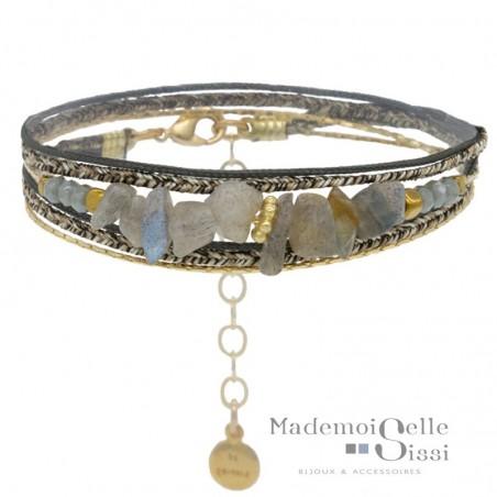 Bracelet multi-rangs Chloé - Labradorites grises & Lurex gris doré