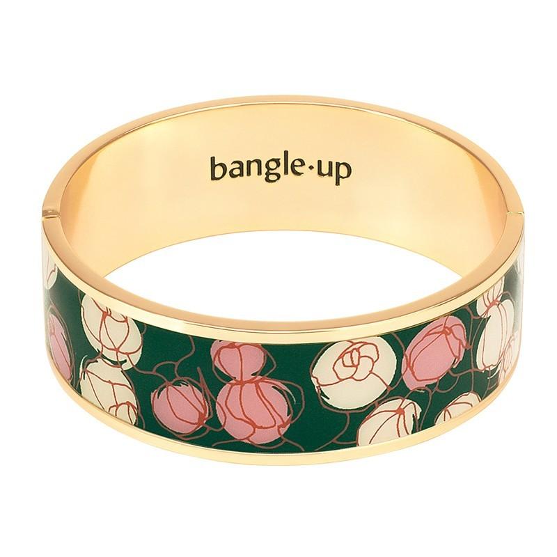 Bracelet jonc manchette Mermaid laiton doré imprimé floral Vert & Rose