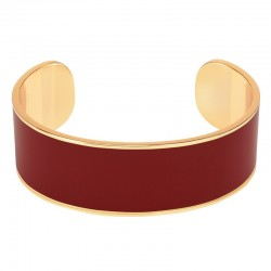 Bracelet jonc manchette BANGLE UP  laiton doré d'émail rouge obscur