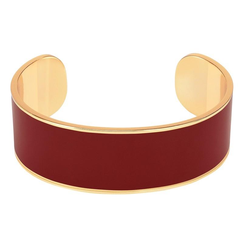 Bracelet jonc manchette Bangle laiton doré d'émail rouge obscur
