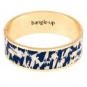 Bracelet jonc manchette Joy laiton doré imprimé fantaisie beige & bleu marine
