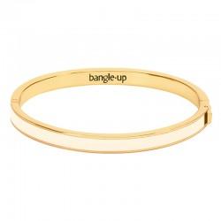 Bracelet jonc Bangle en laiton doré émaillé blanc sable