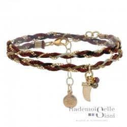 Bracelet BY GARANCE - multi tours Tressy - Liens bordeaux dorés & Corne