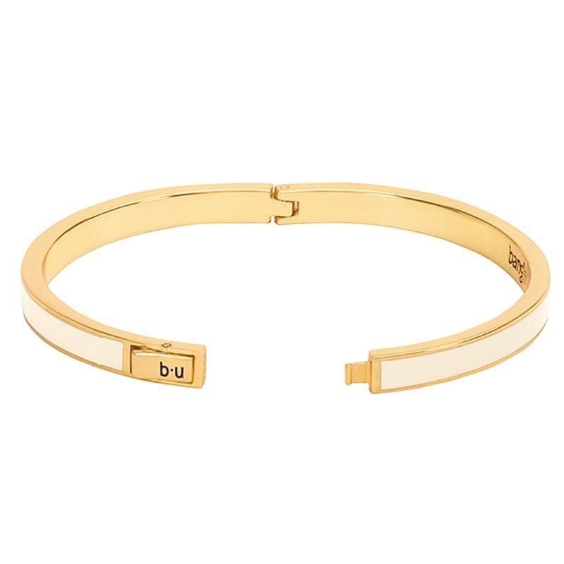 Bracelet jonc BANGLE UP  en laiton doré émaillé blanc sable