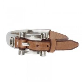 Bracelet demi-jonc cuir marron camel & Ceinture métal