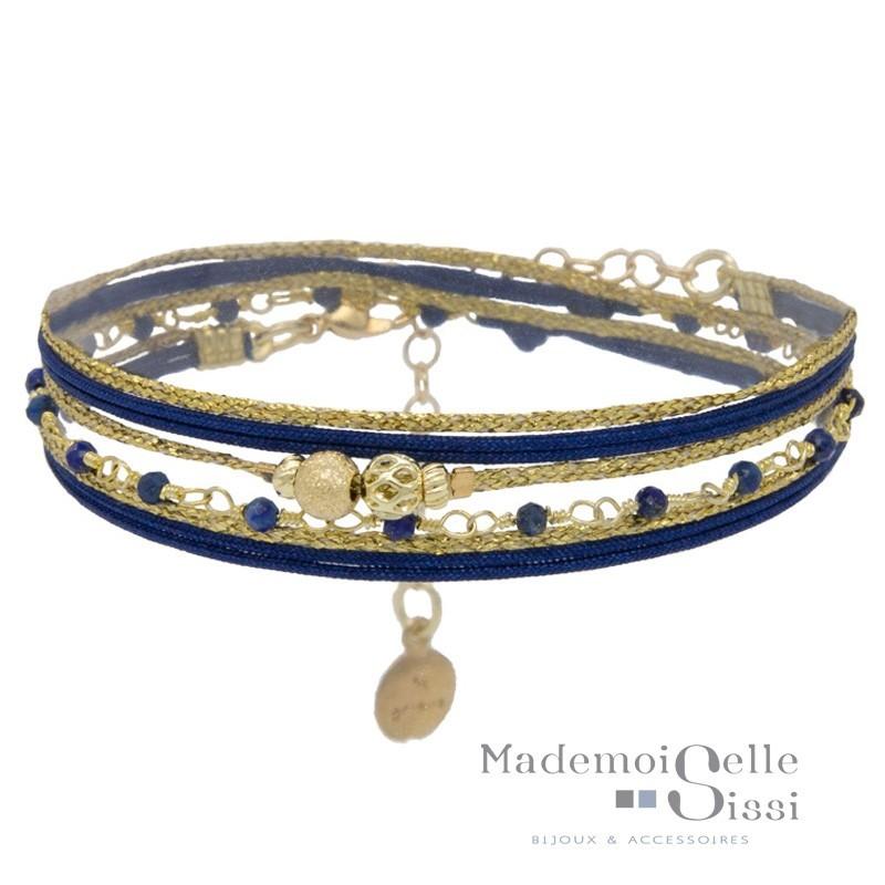 Bracelet Multi tours Eva - Liens & Perles Bleu doré