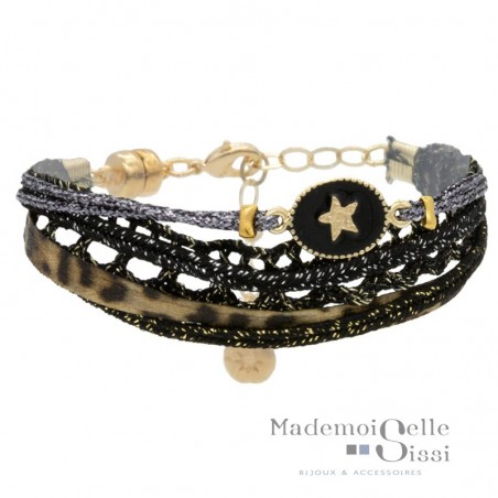 Bracelet multi-rangs Rachel - Liens & Médaille noir doré
