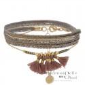 Bracelet multitours Fiona - Liens & Pompons rose doré