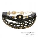 Bracelet Multirangs Rachel - Liens & Médaille noir doré