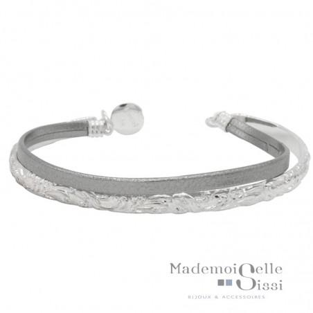 Bracelet multi-rangs Lili - Jonc argent volutes & Lien cuir gris