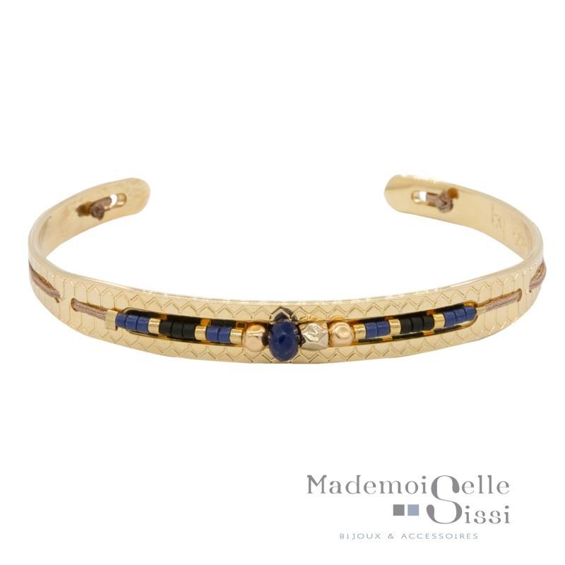Bracelet jonc ouvert Milan - Jonc doré & Lien perlé miyuki bleu doré
