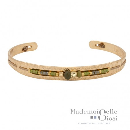 Bracelet jonc Milan - Doré & Lien perlé miyuki kaki doré