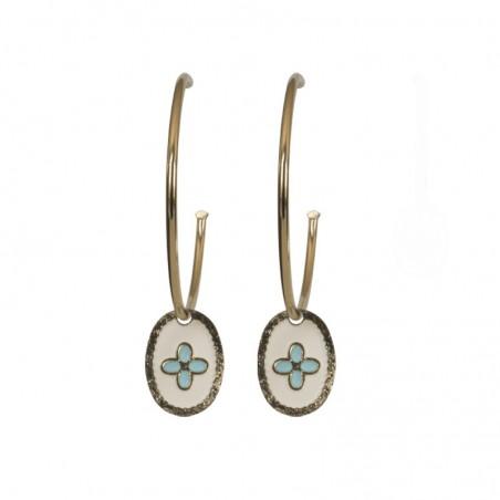 Boucles d'oreilles Esprit - Créoles Dorées & médaille blanc turquoise