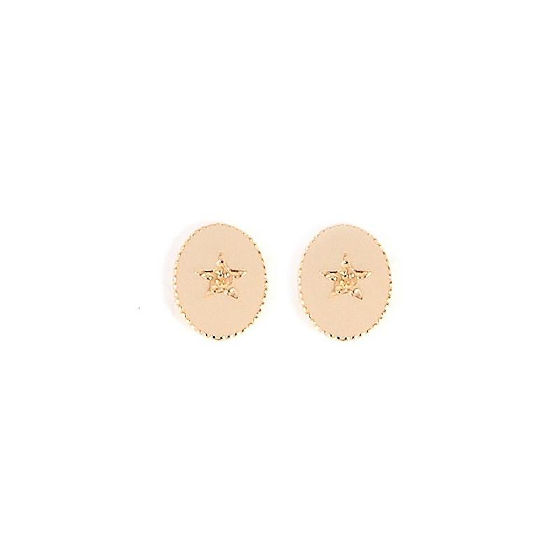 Boucles d'oreilles Puces Médaillon croix beige doré Rachel
