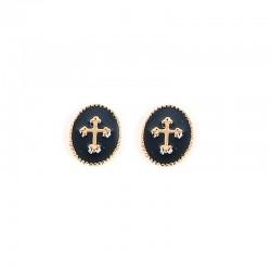 Boucles d'oreilles Puces Rachel dorées - Médaillon émaillé noir & Croix dorée