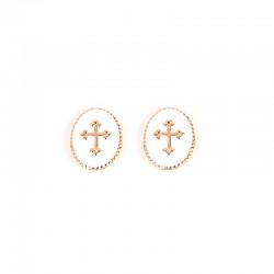 Boucles d'oreilles BY GARANCE - Puces Médaillon croic blanc doré Rachel