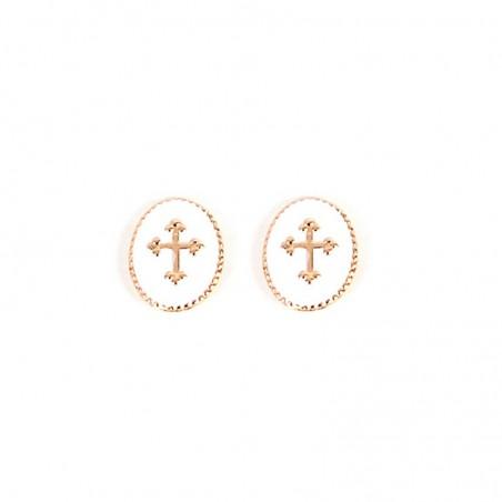 Boucles d'oreilles Puces Médaillon croix blanc doré Rachel