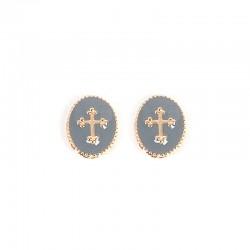 Boucles d'oreilles Puces Médaillon croix gris doré Rachel