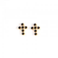 Boucles d'oreilles Puces Croix noir doré