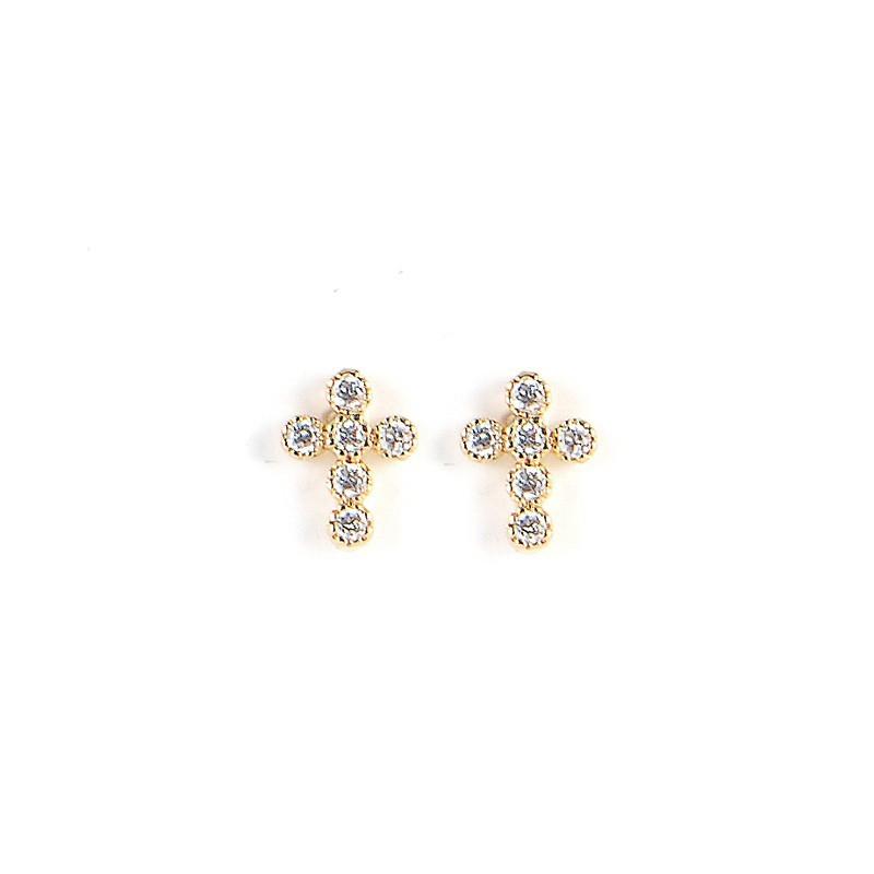 Boucles d'oreilles Puces dorées & Croix zircons blancs   By Garance