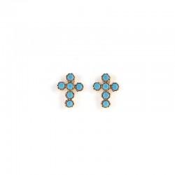 Boucles d'oreilles Puces doré - Croix & Zircons turquoises BY GARANCE