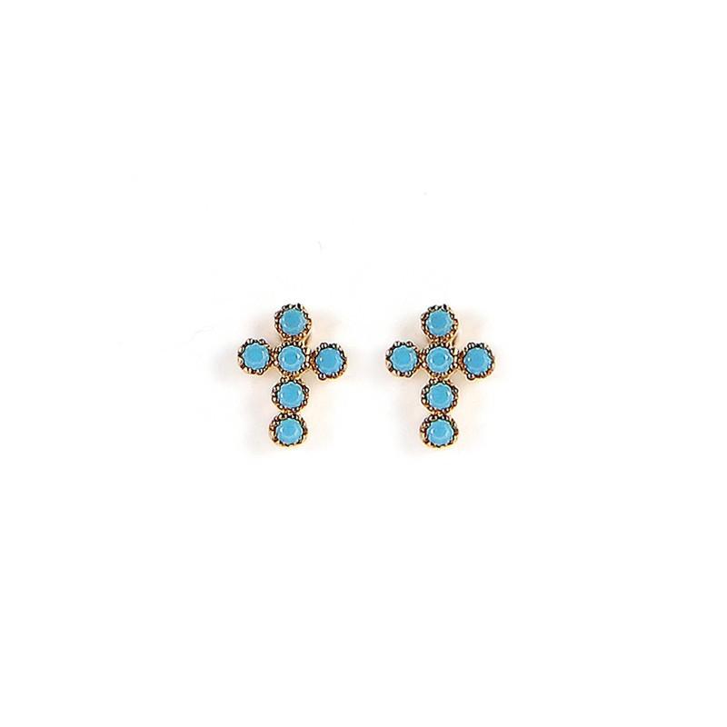 Boucles d'oreilles Puces Rachel dorées & Croix Turquoises