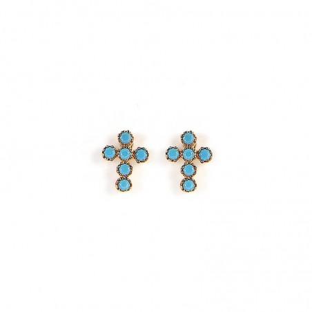 Boucles d'oreilles Puces croix Turquoise Doré