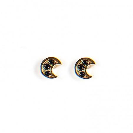Boucles d'oreilles Puces Demi-lunes Zircons noir doré