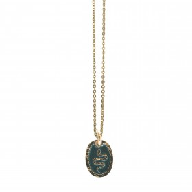 Collier shocker Serpent - Collier Or fin & médaille laquée verte Lovely Day