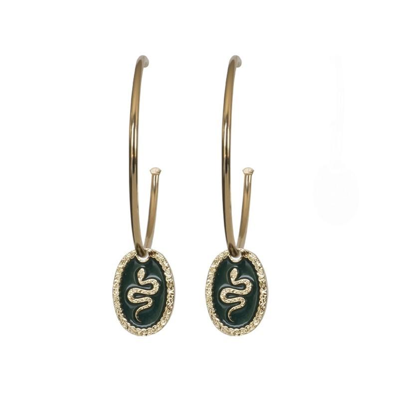 Boucles d'oreilles créoles Serpent Dorées Médaillon Vert 3 cm