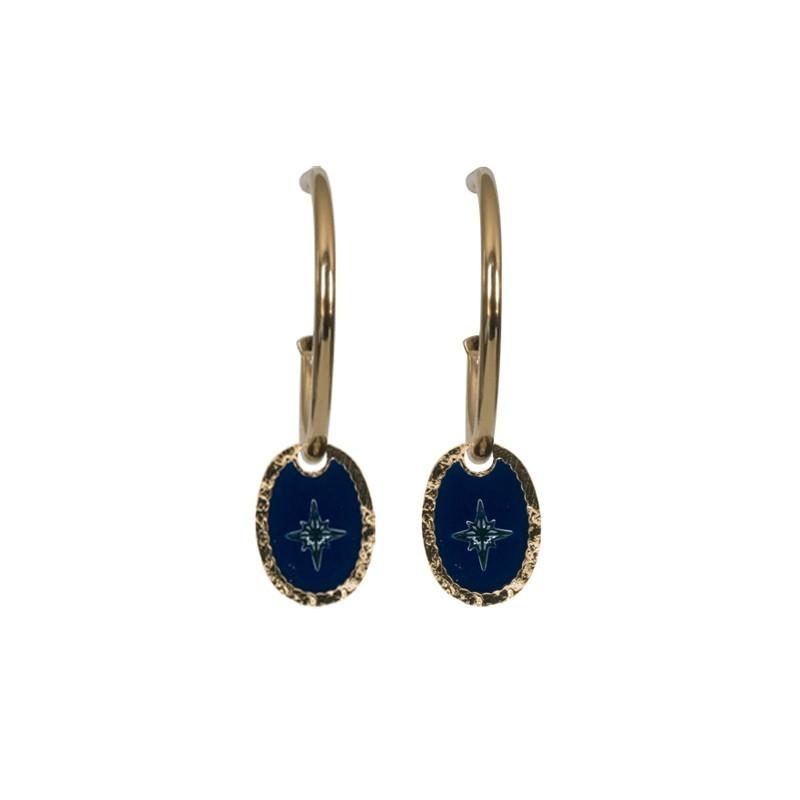 Boucles d'oreilles créoles Rose des Vents - Médaille émaillée bleu marine 18 mm