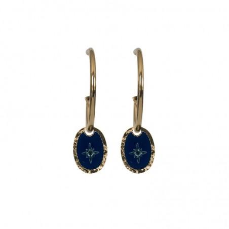 Boucles d'oreilles Rose des Vents - Mini-créoles & Médaille bleu marine