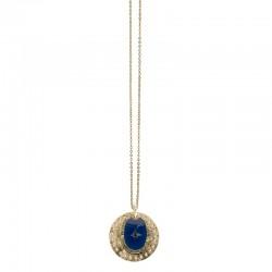 Collier Or Rose des vents - Deux médailles & Décor laqué bleu marine