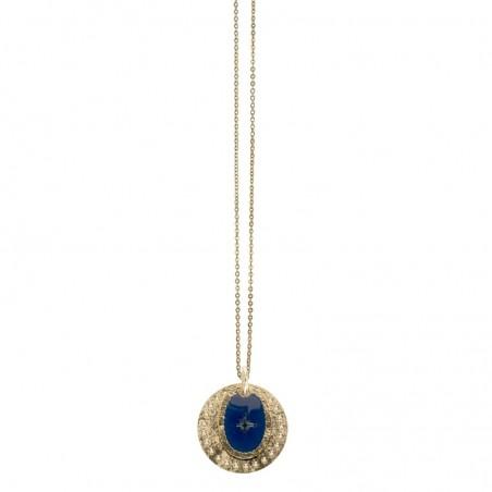 Collier Or Rose des vents - Double médailles bleu marine doré