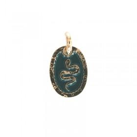 Médaillon oval Serpent vert doré