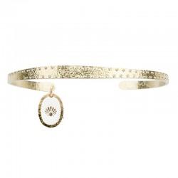 Lovely Day Bijoux - Bracelet Jonc Coquille - Demi-Jonc doré pointé & médaille laquée blanc