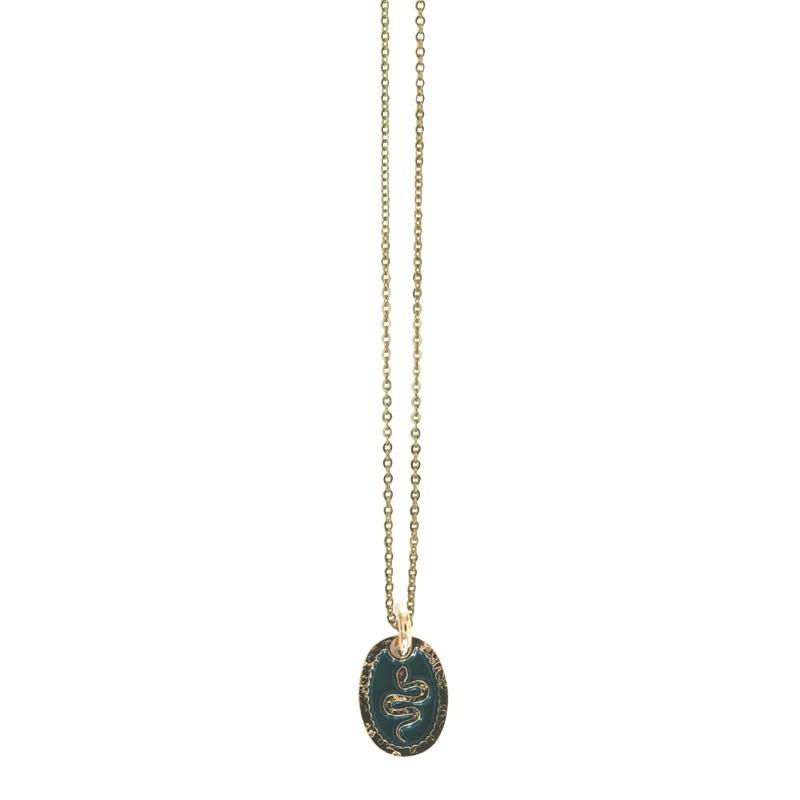 Lovely Day Bijoux - Collier shocker Serpent - Collier Or fin & médaille laquée verte Lovely Day