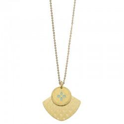 Collier sautoir Or Chance Mycènes - Deux médailles & Trèfle turquoise Lovely Day