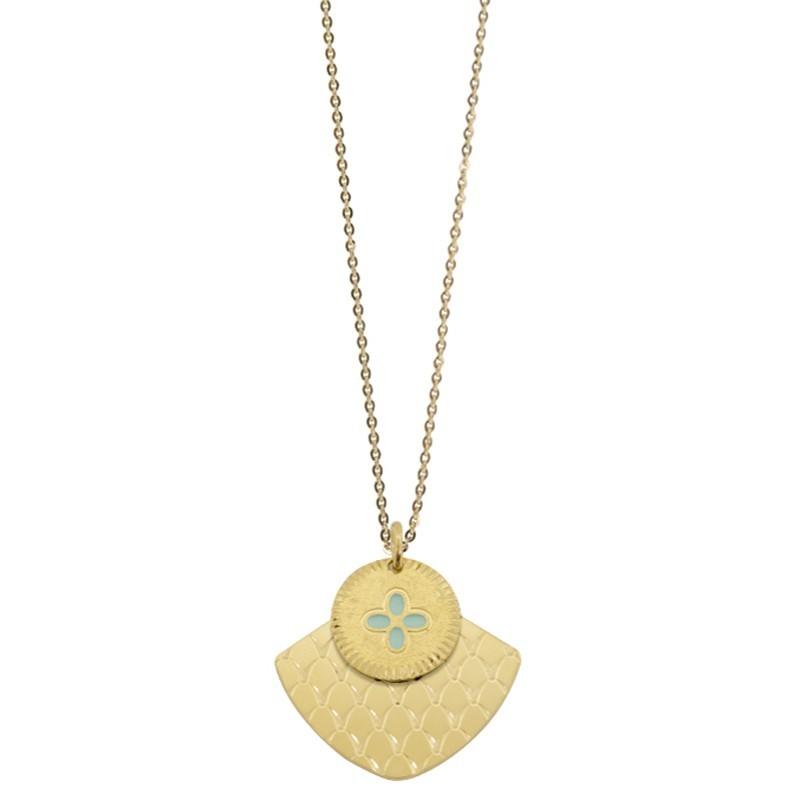 Lovely Day Bijoux - Collier sautoir Or Chance Mycènes - Deux médailles & Trèfle turquoise Lovely Day