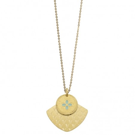 Collier sautoir Chance Mycènes - Double médailles turquoise doré