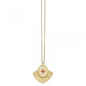 Lovely Day Bijoux - Collier Or Coeur Rouge Mycènes - Deux médailles & Décor laqué rouge