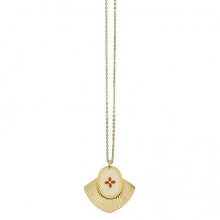 Collier Coeur Rouge Mycènes - Double médailles rouge doré