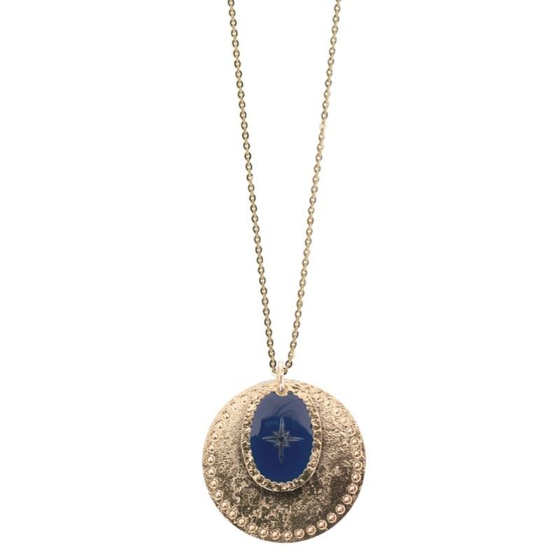 Collier sautoir Or Rose des Vents - Double médailles & Décor laqué bleu marine