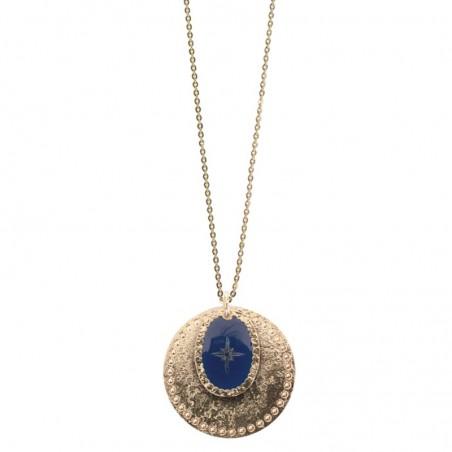 Collier sautoir Or Rose des Vents - Double médailles laquée bleu marine