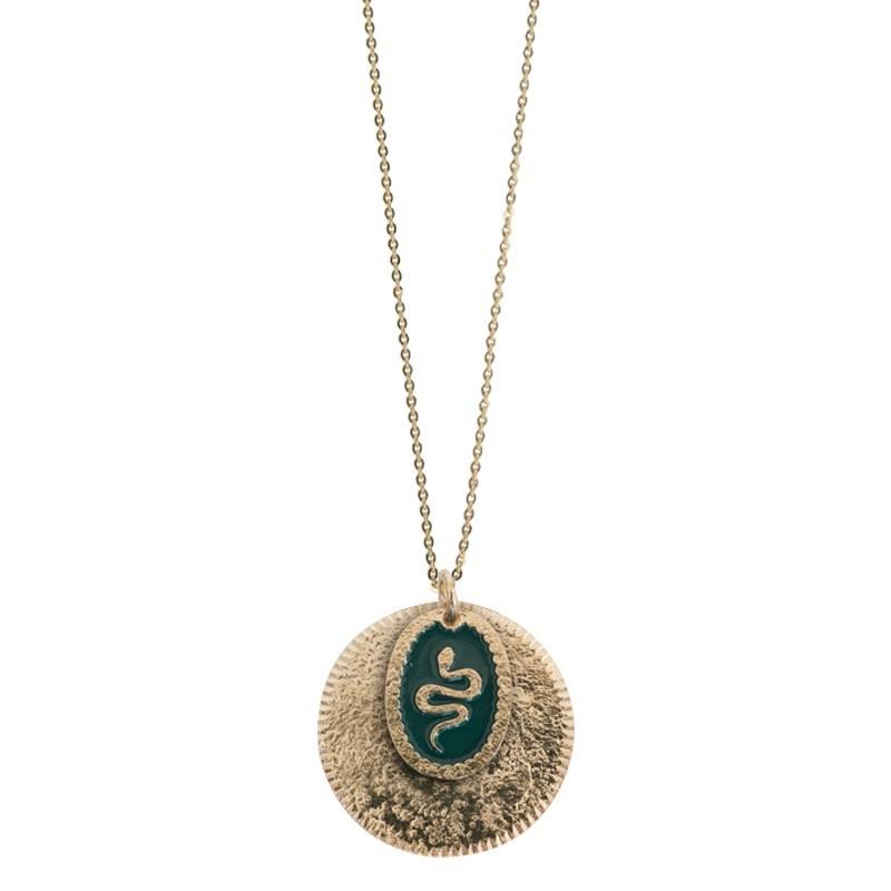 Collier sautoir Or Serpent - Double médailles & Décor laqué noir
