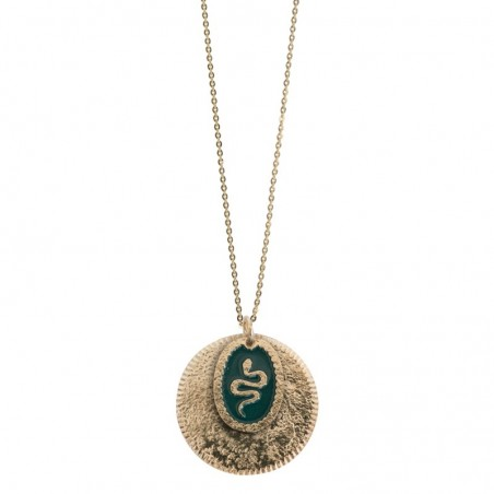 Collier sautoir Serpent - Double médailles & Décor laqué vert doré