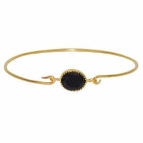LuckyTeam - Bracelet Jonc fin Doré & Décor médaillon onyx noir