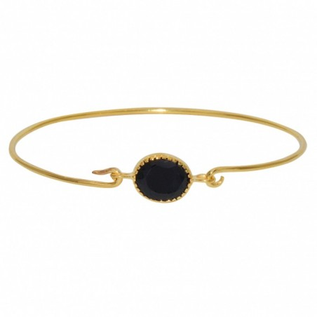 Bracelet Jonc fin Doré & Médaillon Onyx noir