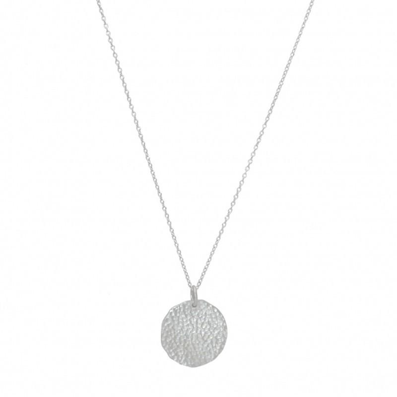 Collier mi-long en Argent & Pendentif Médaille ronde martelée
